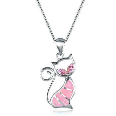 Colourful Rhinestones Bohemian Lovely Cat Necklace- Jewelry gift