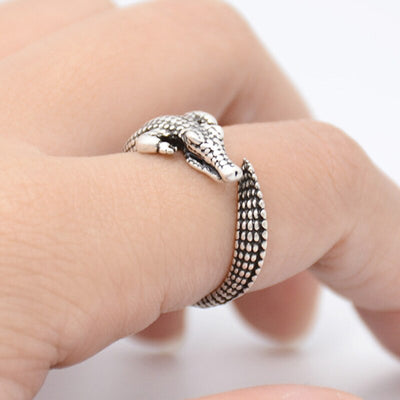 Vintage Crocodile Anel Masculino Silver Color Ring Men Women Gifts