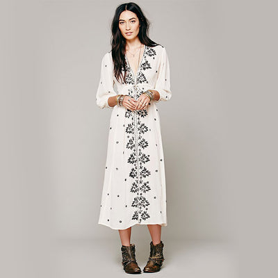 Cotton Summer Dress Long Sleeve Floral Embroidery Bohemian Dresses For Women