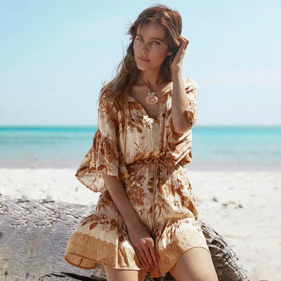 Floral Sexy V neck Retro Bohemian Summer Short Dress