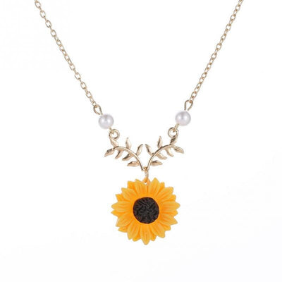 Vintage Sunflower Pendant Necklace For Women Jewelry Statement Necklace