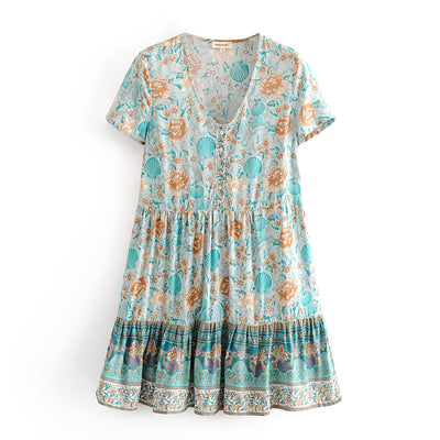 Summer Beach Bohemian Vintage Floral mini Dress