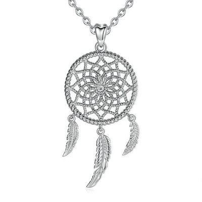GRACEFUL STERLING SILVER DREAMCATCHER PENDANT NECKLACE