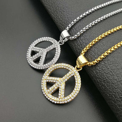 Peace Sign Rhinestones Gold Silver Stainless Steel Necklace