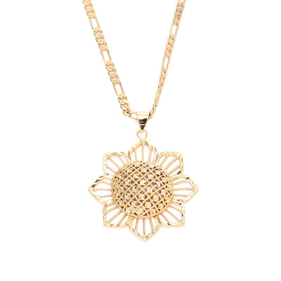 Trendy Sunflower Gold Color Necklace for Women and Men