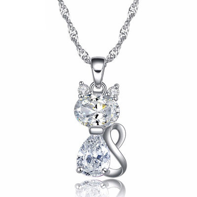 LOVELY CAT NECKLACE DESIGN WITH CUBIC ZIRCON