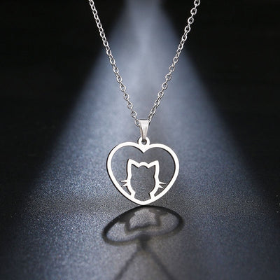STAINLESS STEEL HEART WITH CUTE CAT GOLD COLOR NECKLACE