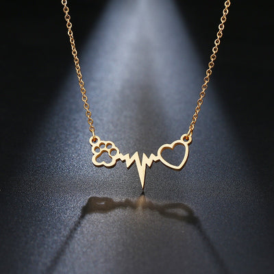 STAINLESS STEEL GOLD SILVER COLOR CAT PAW WITH LOVE NECKLACE