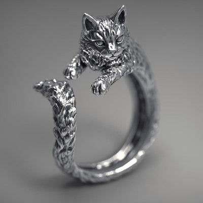 Charming Cool Silver Punk Hip Hop Cat Finger Ring