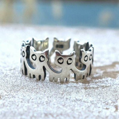 LOVELY A GROUP OF CAT FINGER RING FOR GIFT