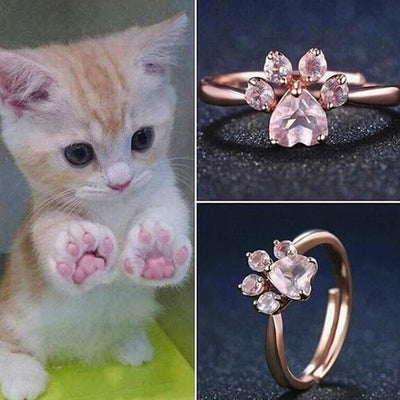Cute Cat Paw Adjustable Rose ring-jewelry gift for Women