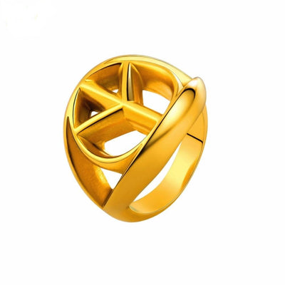 Stainless Steel Gold/Black/Silver Peace Sign Unisex Ring
