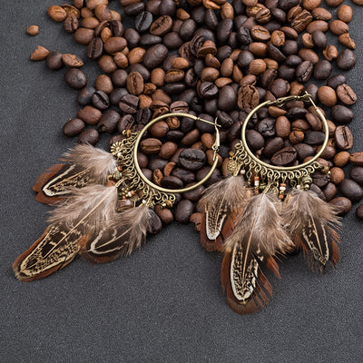 BOHEMIAN BROWN FAUX FEATHER CIRCLE EARRING FOR WOMEN