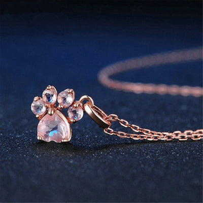 HIGH QUALITY PINK CAT DOG PAW WITH ROSE CRYSTAL LOVELY NECKLACE