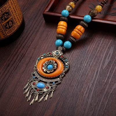 BOHEMIAN ETHNIC VINTAGE WOOD NECKLACE FOR WOMEN