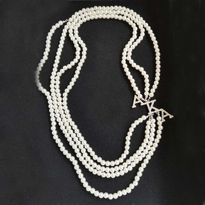 White Pearl Alpha Kappa Alpha Long Necklace