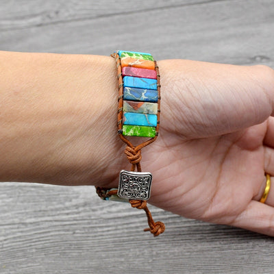 7 Chakra Bracelet Handmade Multi Color Natural Stone Tube Beads Vintage Leather Charm Bracelet