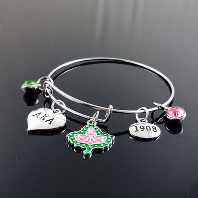 Gorgeous Heart Alpha Kappa Alpha Wire Bracelet
