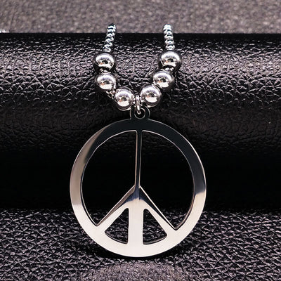 Stainless Steel Peace Sign Silver Color Unisex Long Necklace