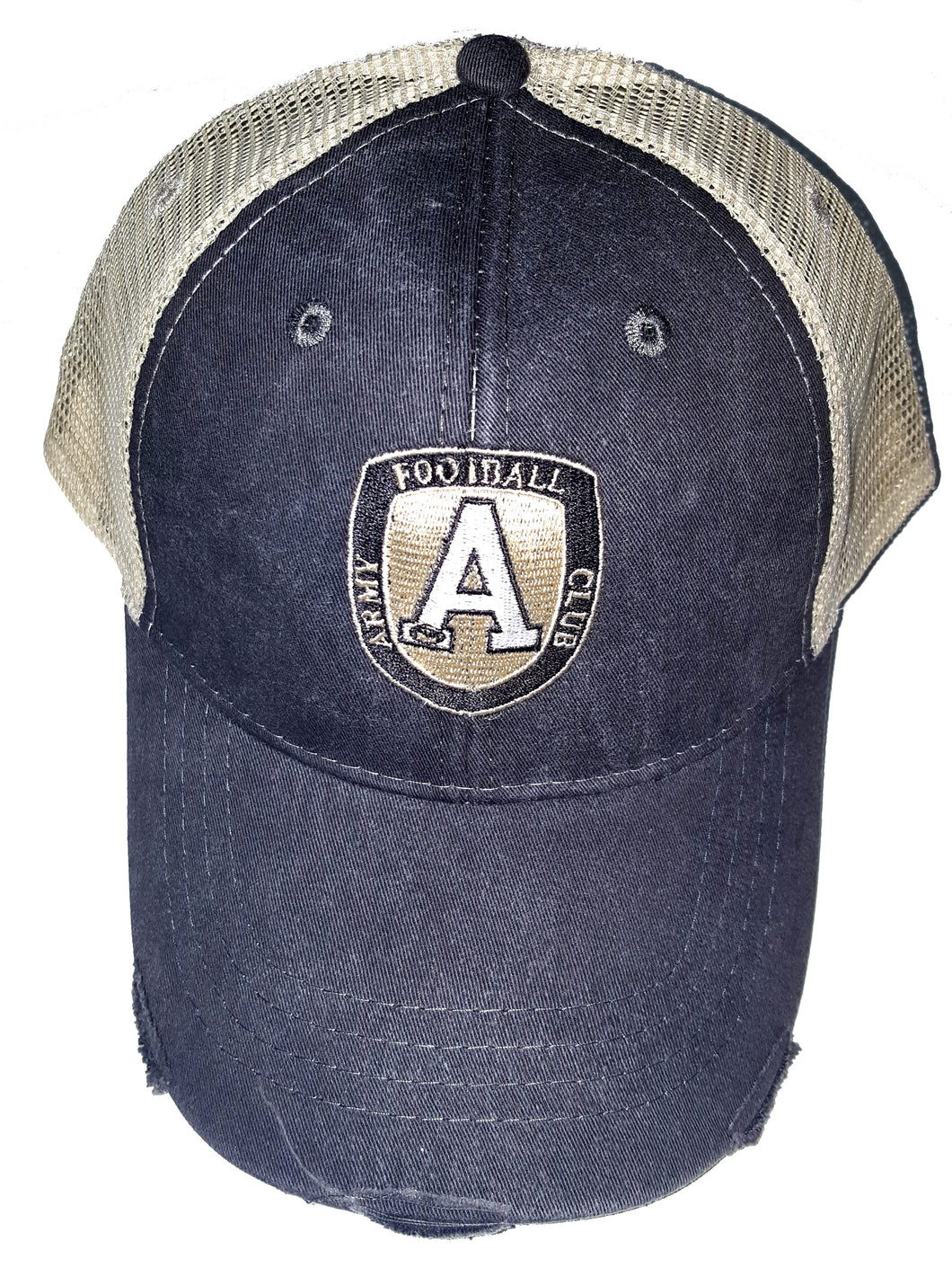Adams Black and Tan Distressed Trucker Hat