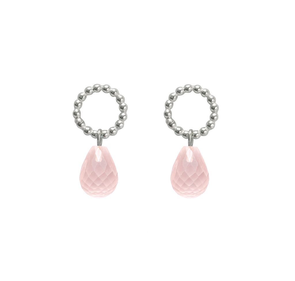 Beaded Rose Quartz Drops  - The Aura Collection