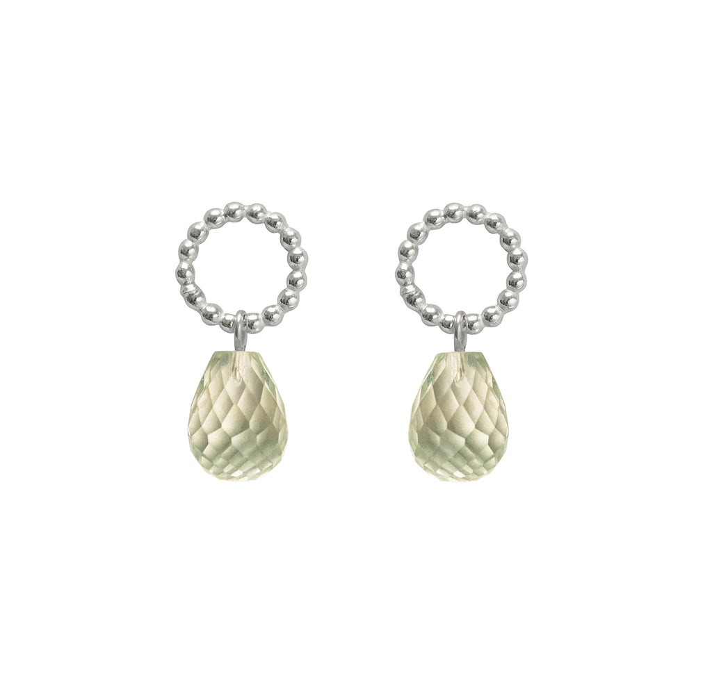 Beaded Green Amethyst Drops   - The Aura Collection
