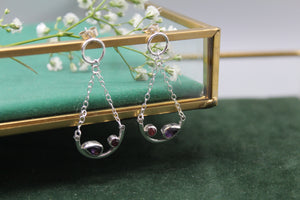 Amethyst and Tourmaline Aura Earrings