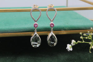 Pink Tourmaline and Green Amethyst Earrings  - The Aura Collection