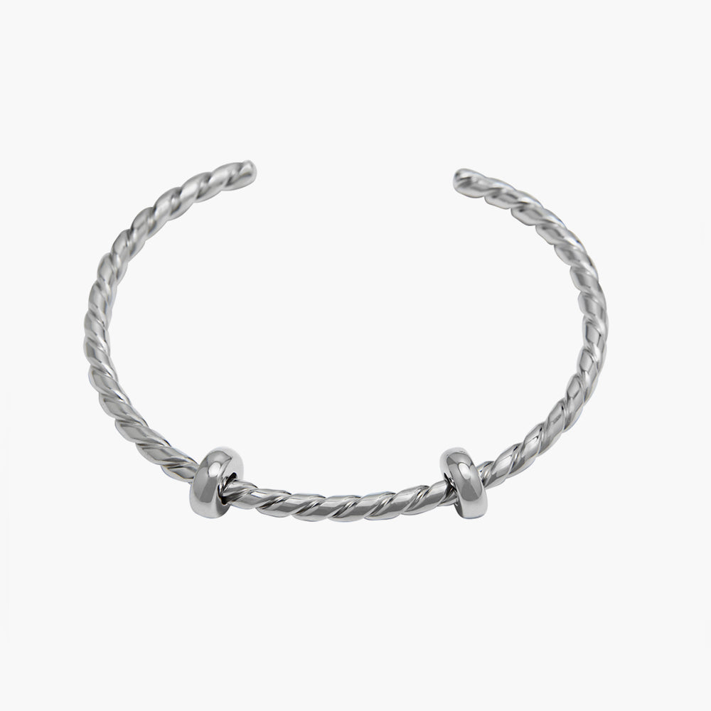 Open Bangle Twisted Silver