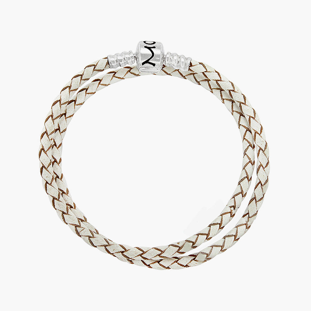 Double Leather Bracelet White