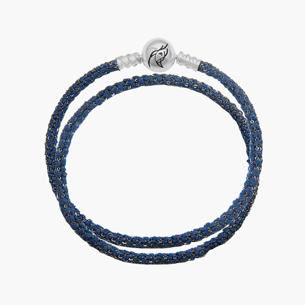 Double  Italian Silk Bracelet - Blue