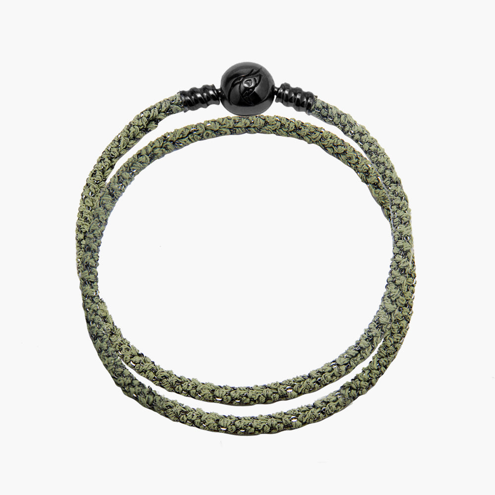 Double Italian Silk Bracelet - Green BRH