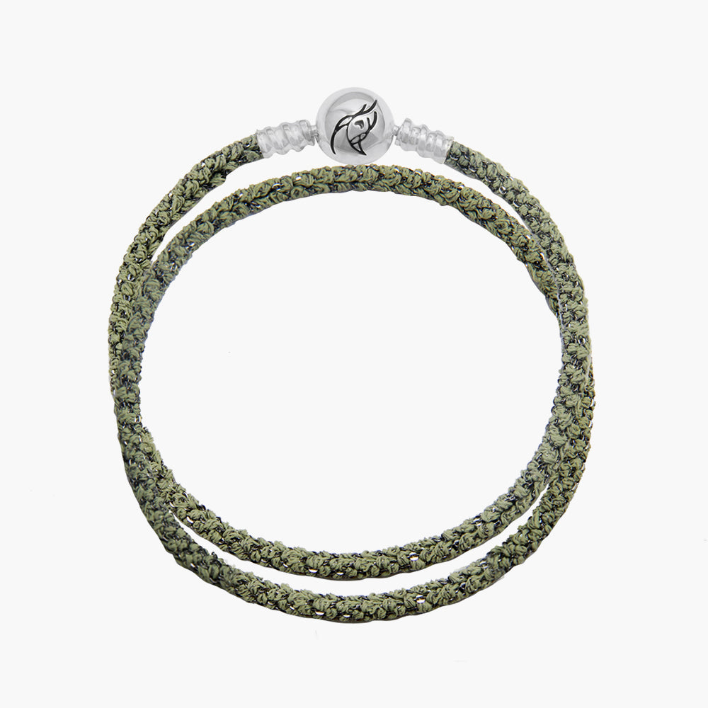 Double Italian Silk Bracelet - Green