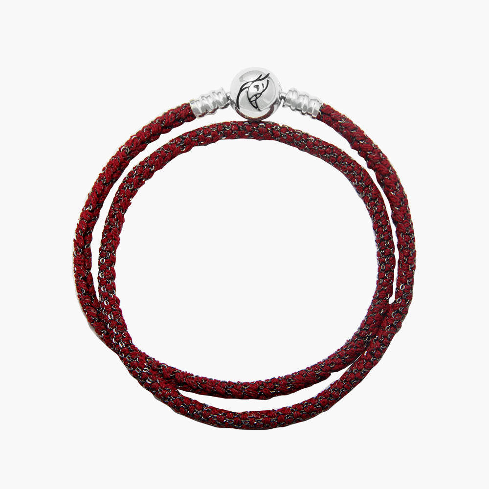 Double Italian Silk Bracelet - Red