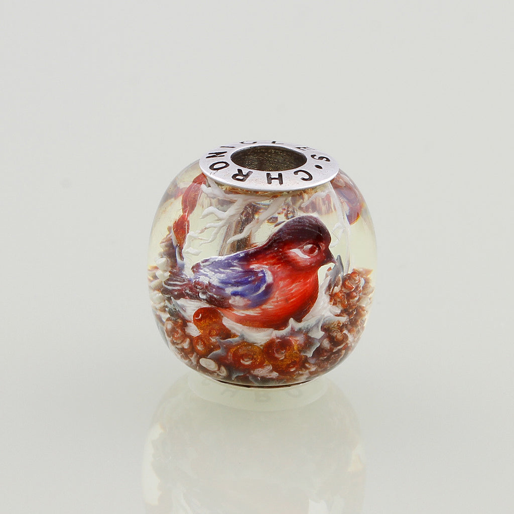 Winter Bird Amber Bead