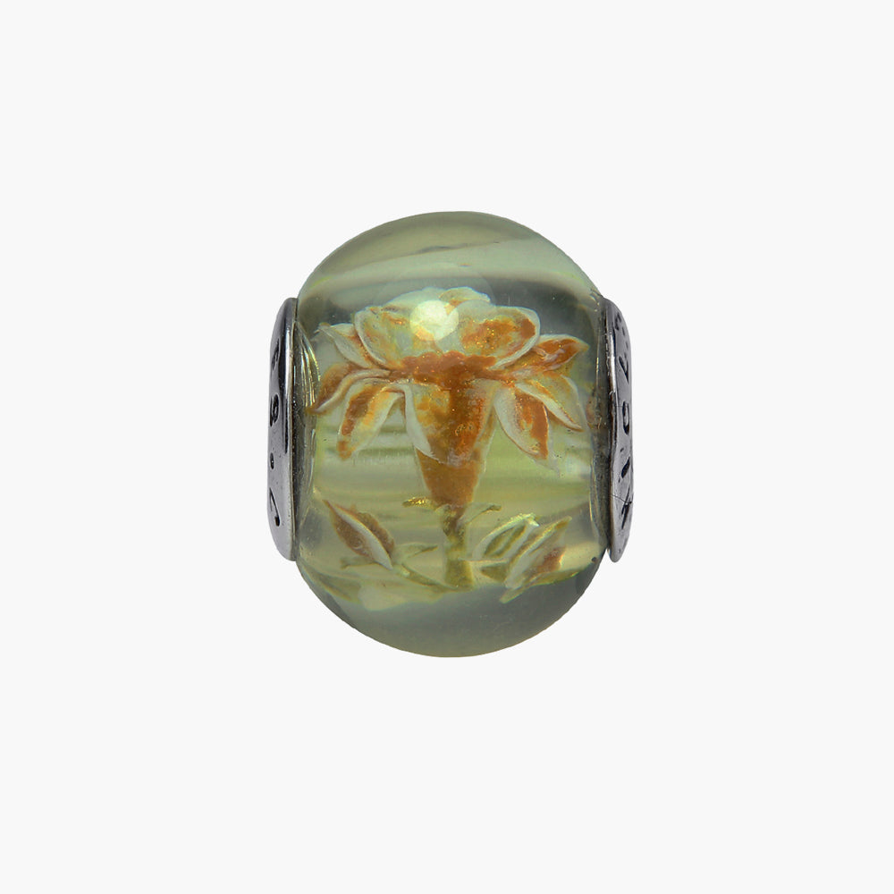 Golden Lily Amber Bead