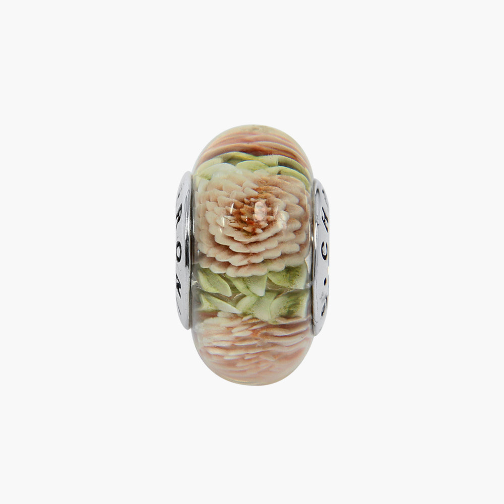 Small Dahlia Pink Green Amber Bead