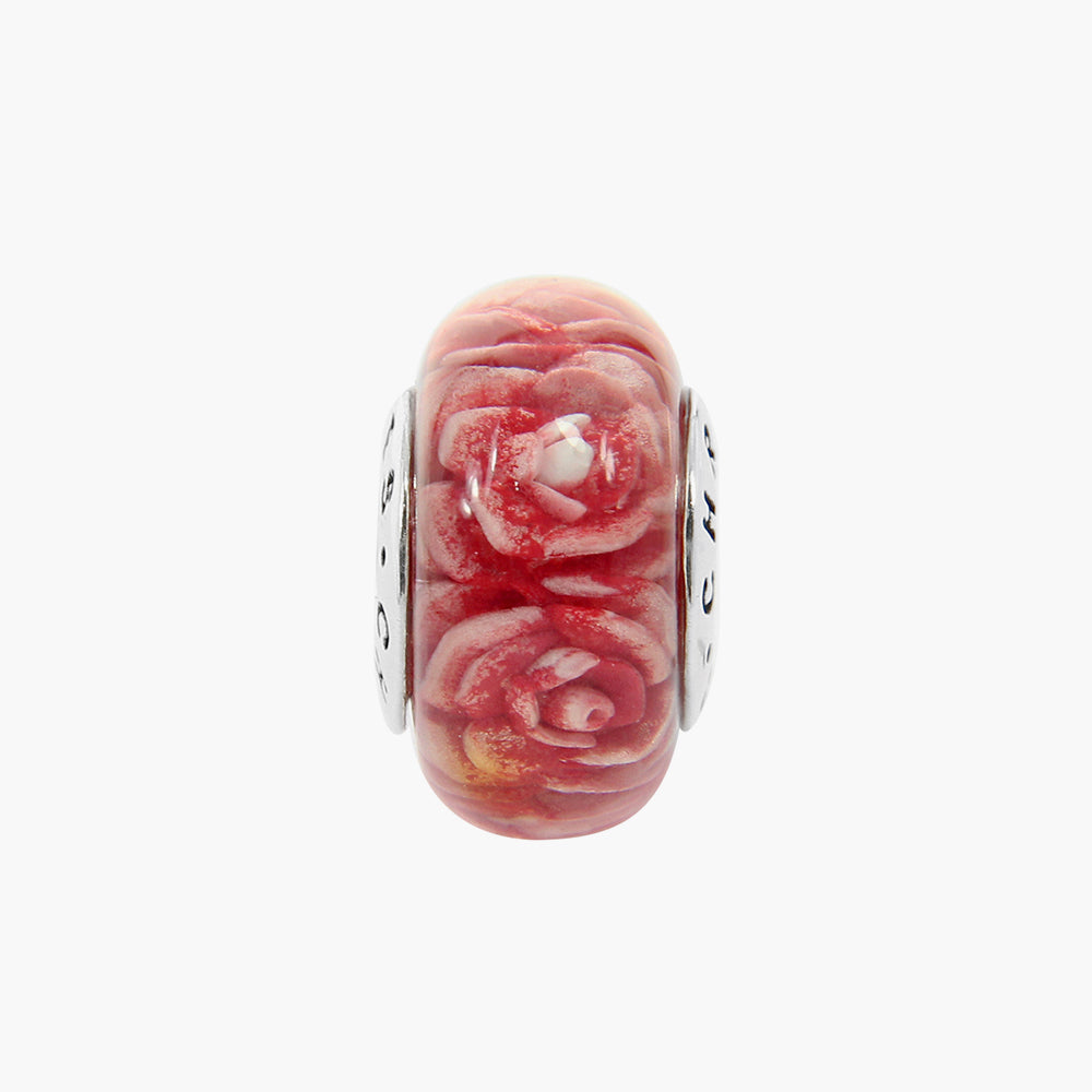 Roses Red Amber Bead