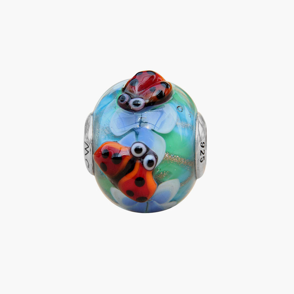 Two Ladybugs Flower Glass Bead