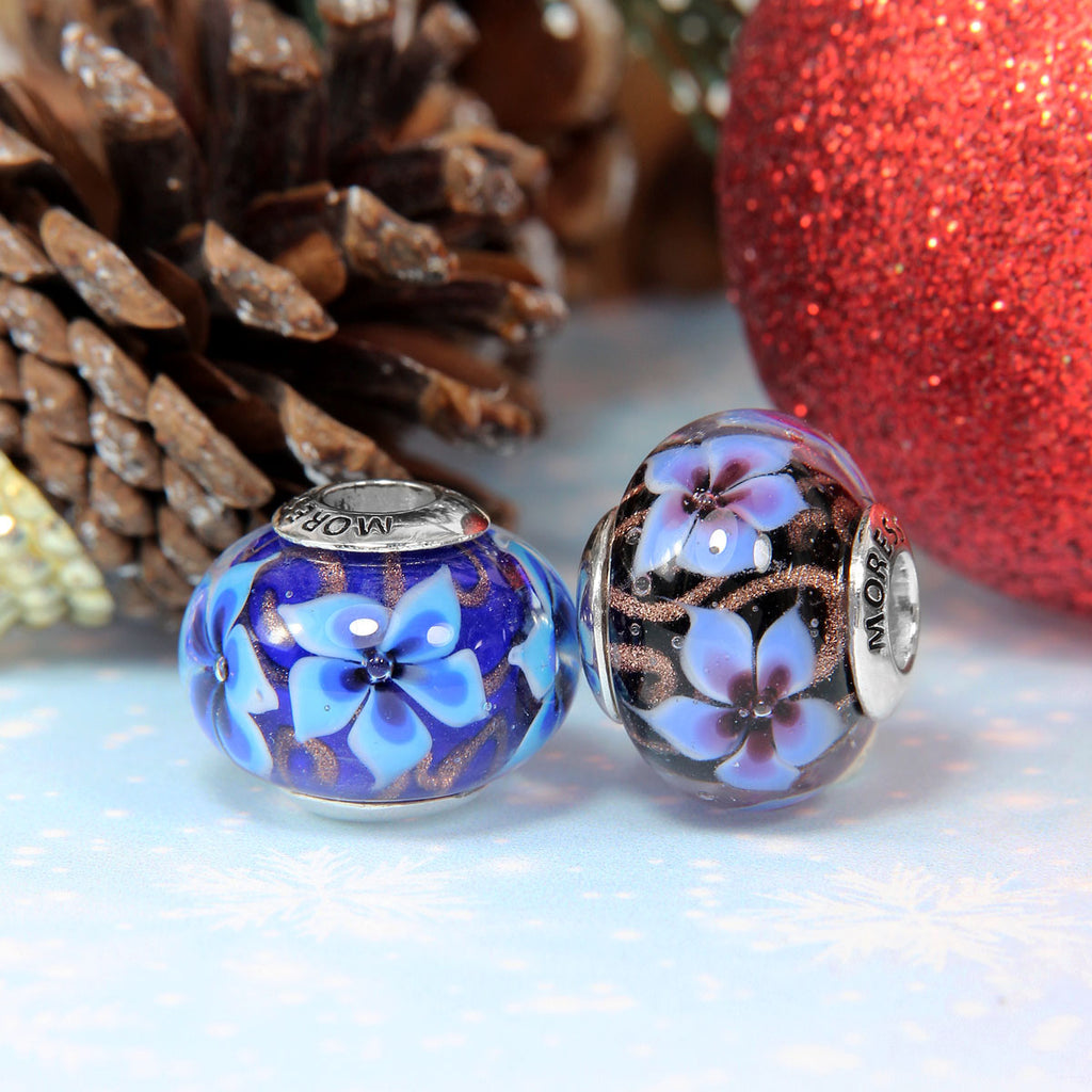 Christmas Flower Glass Bead
