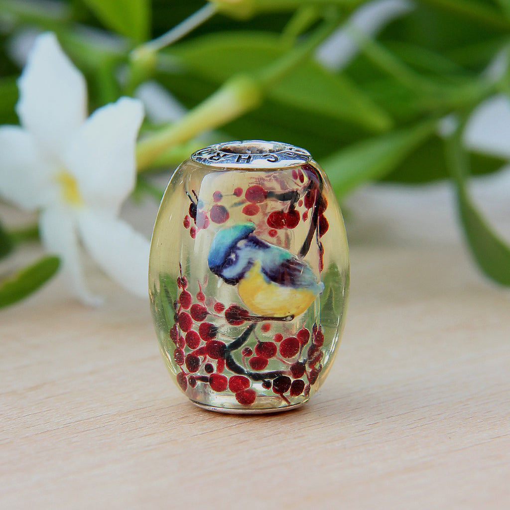 Blue Bird Amber Bead