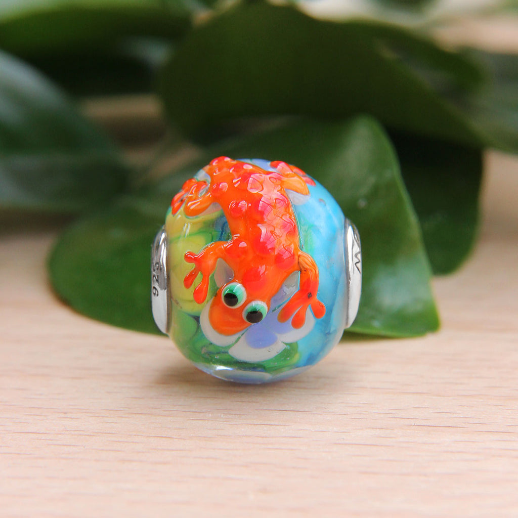 Orange Lizard Flower Glass Bead