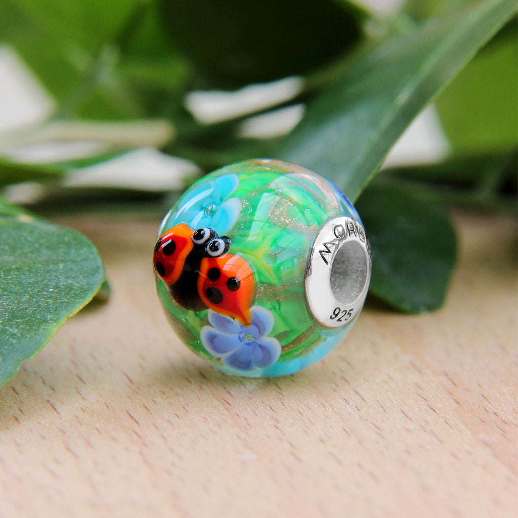 One Ladybug Flower Glass Bead