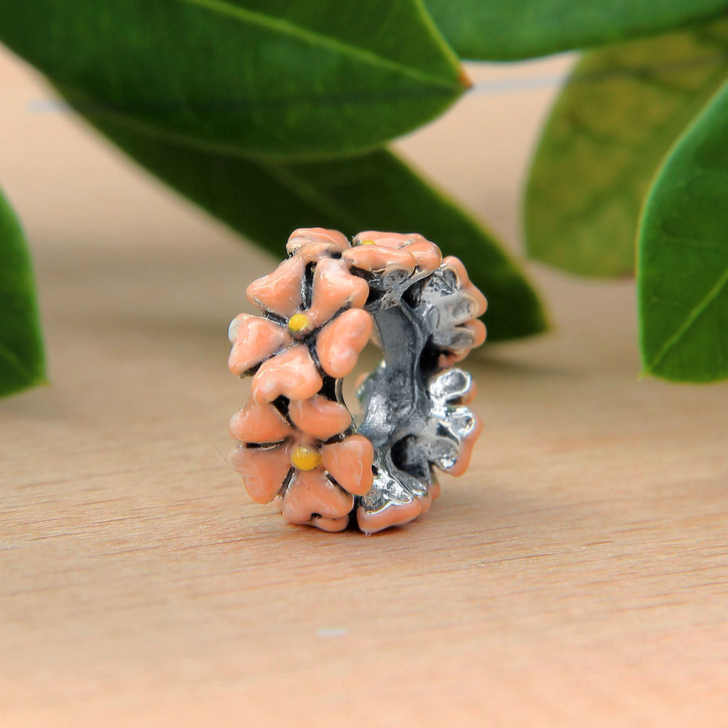Peach Flower Spacer Bead