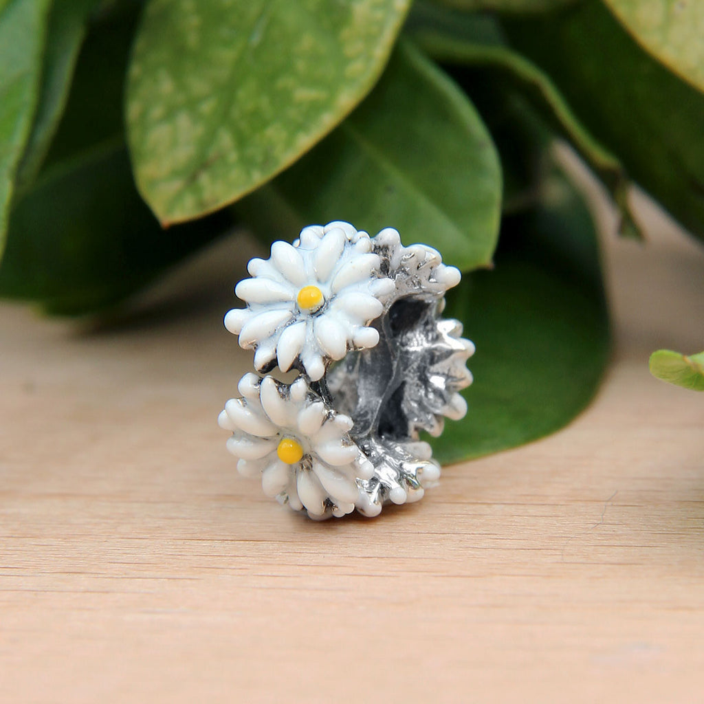 White Daisy Flower Spacer Bead