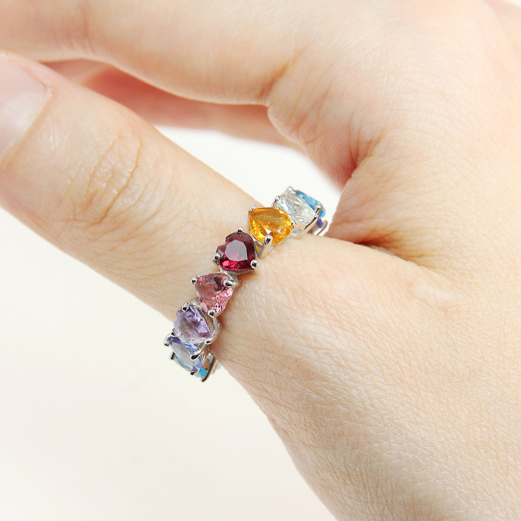 Infinity Rainbow Heart Ring