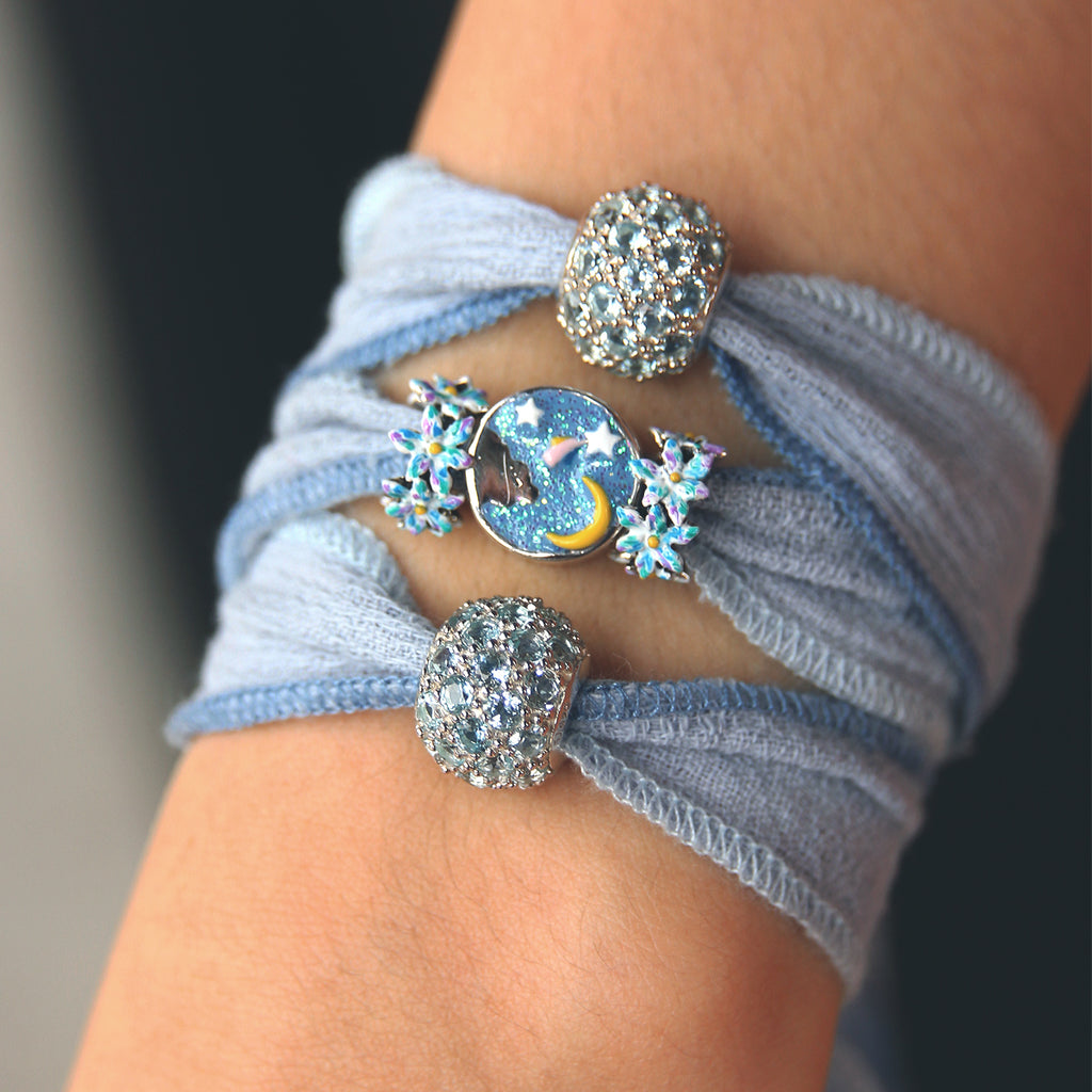Sky Blue Cotton wrap Bracelet