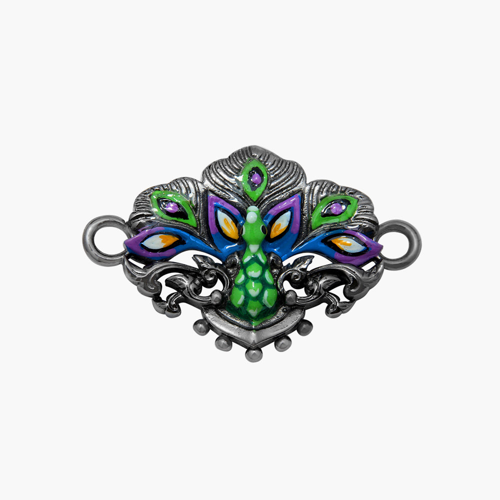 PEACOCK AMULET WITH GREEN AND BLACK RHODIUM PLATED