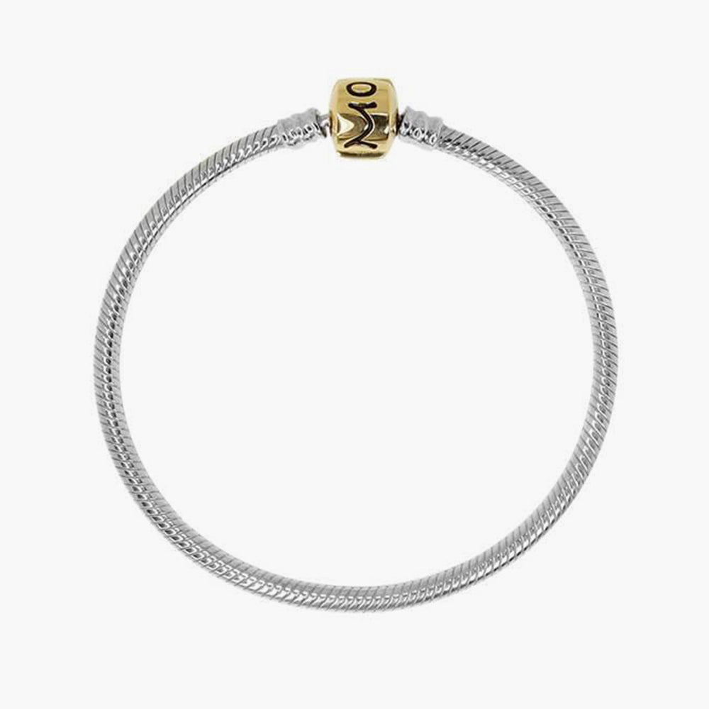 Sterling Silver Bracelet With 14 K Gold Lock