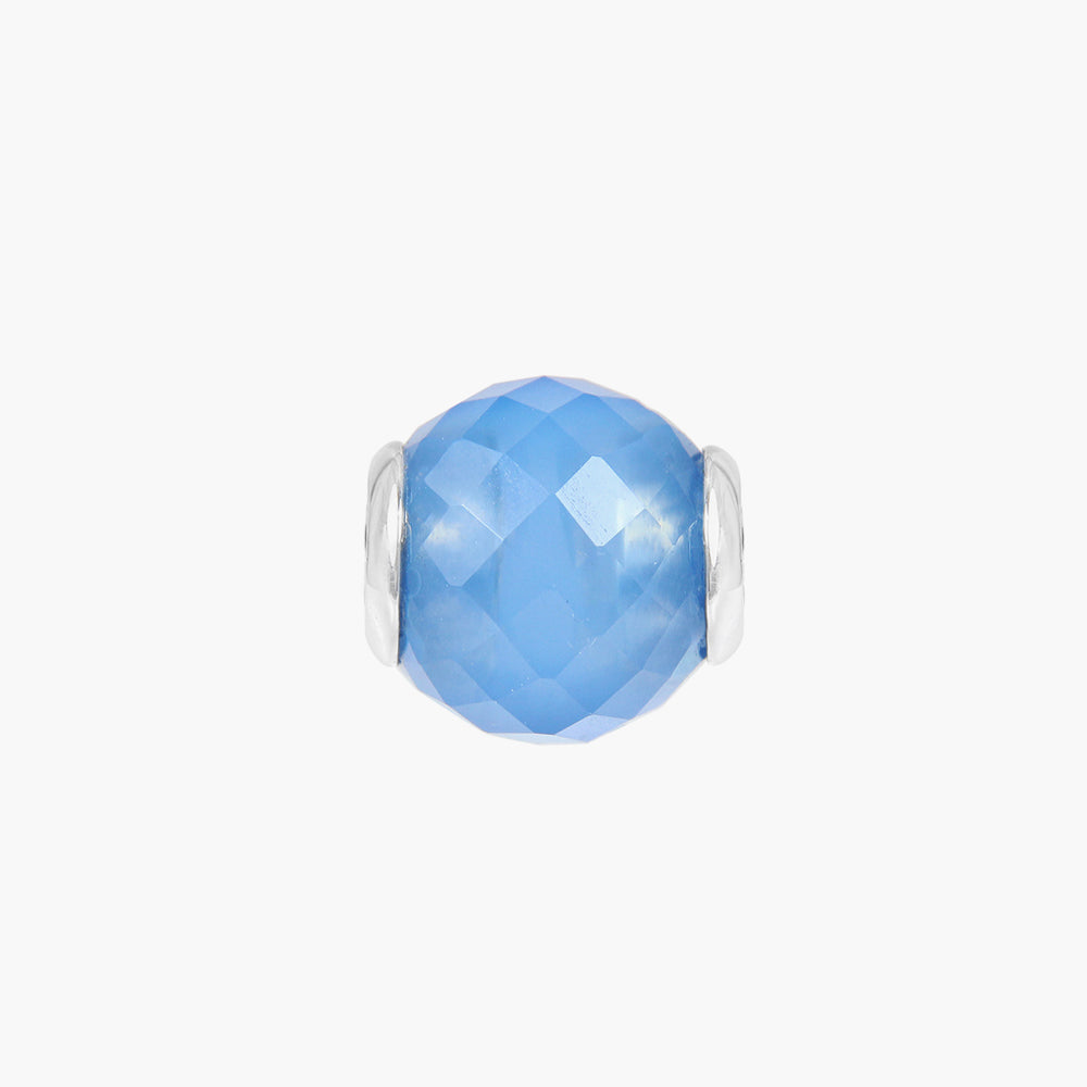 Dyed Blue Chalcedony Round Stone Bead